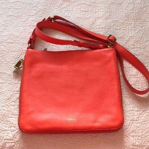 Fossil Orange Leather Crossbody/ Shoulder Handbag